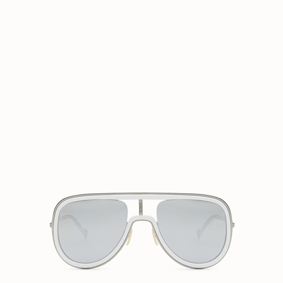 FENDI FUTURISTIC FENDI - White and ruthenium sunglasses - view 1 detail