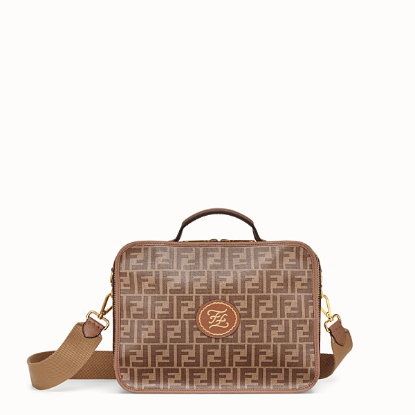 FENDI SMALL TRAVEL BAG - Large brown fabric bag - view 1 small thumbnail