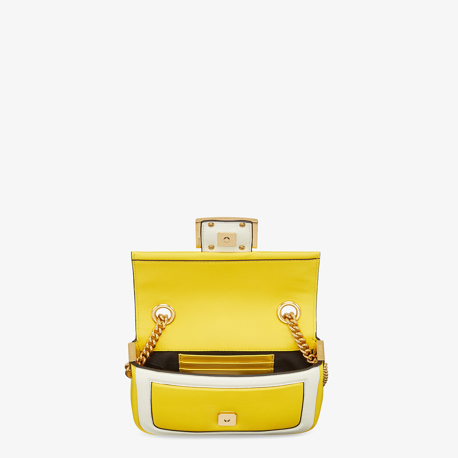 FENDI MINI BAGUETTE CHAIN - Yellow and white nappa leather bag - view 4 detail