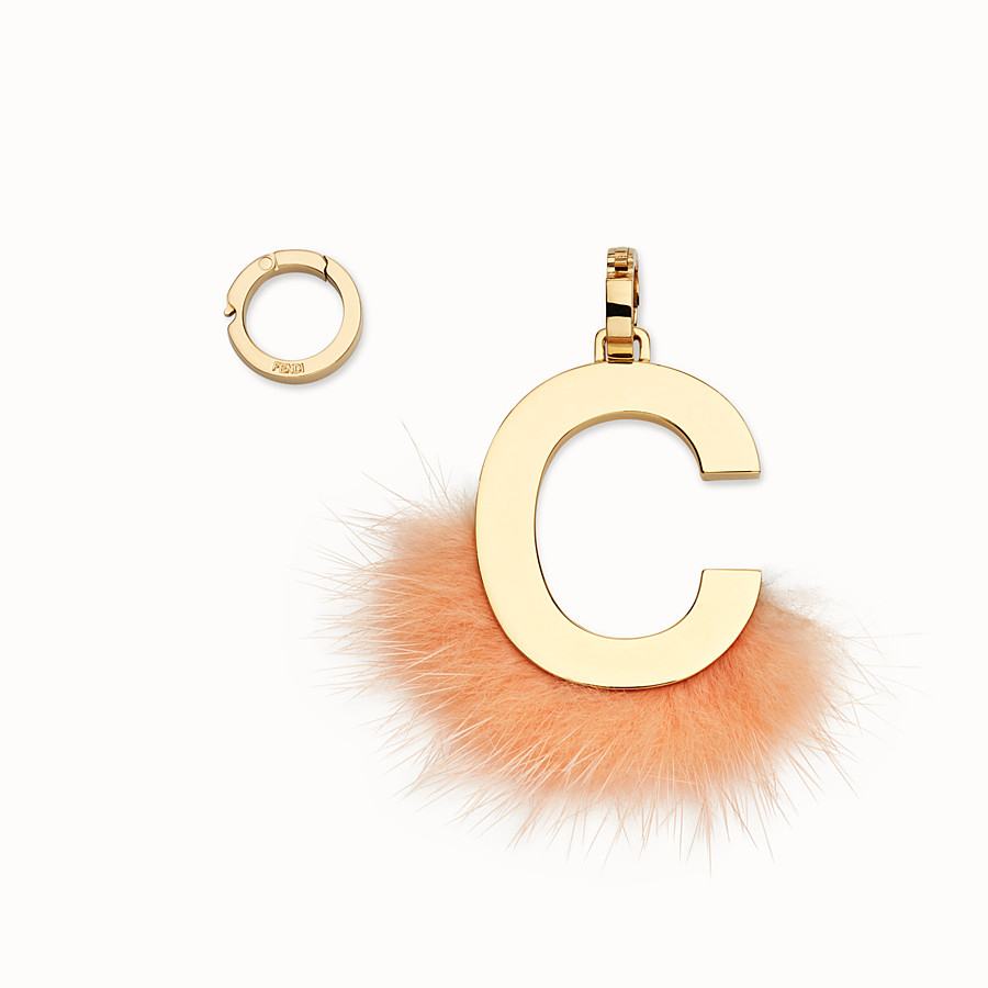 FENDI ABCLICK C - Pendant with peach-pink fur - view 1 detail
