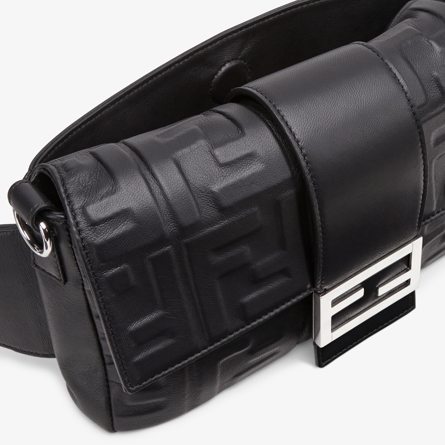 FENDI BAGUETTE - Black nappa leather bag - view 6 detail