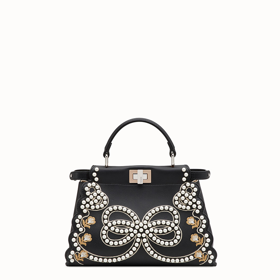 FENDI PEEKABOO MINI - Black leather bag - view 1 detail