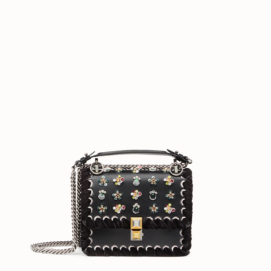 FENDI KAN I SMALL - Black leather mini bag with rhinestones - view 1 detail