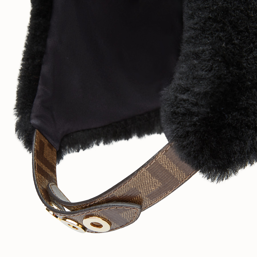 FENDI HAT - Black shearling hat - view 2 detail