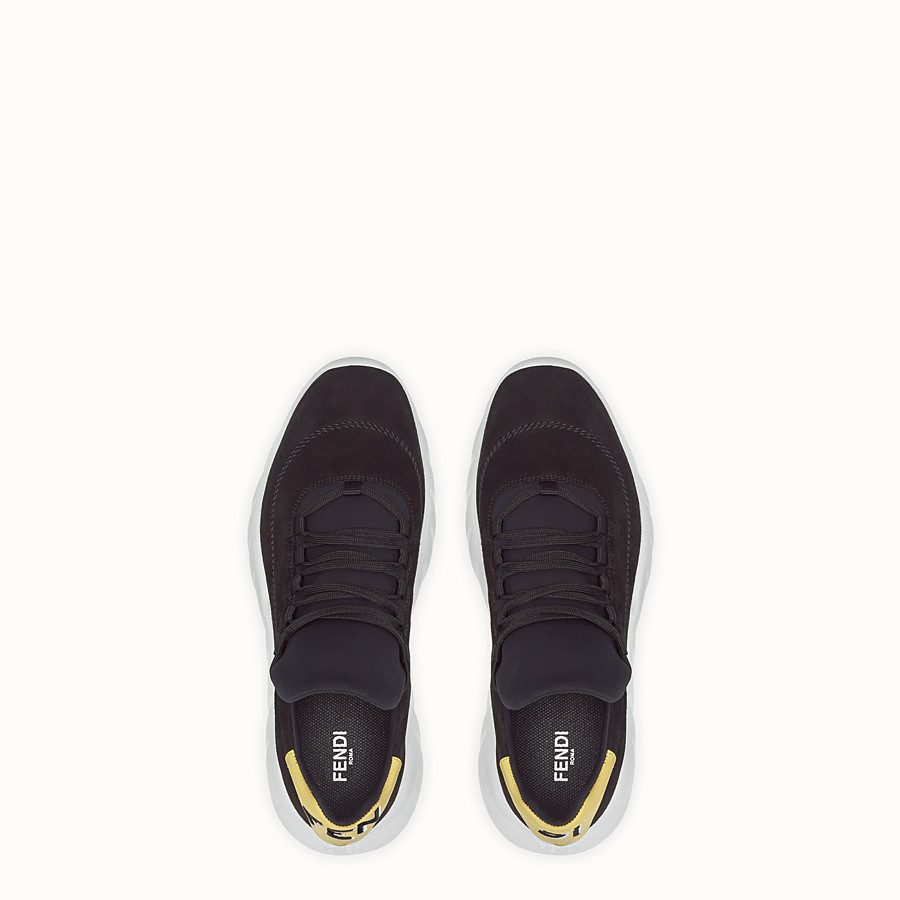 FENDI SNEAKERS - Black split leather low-tops - view 4 detail