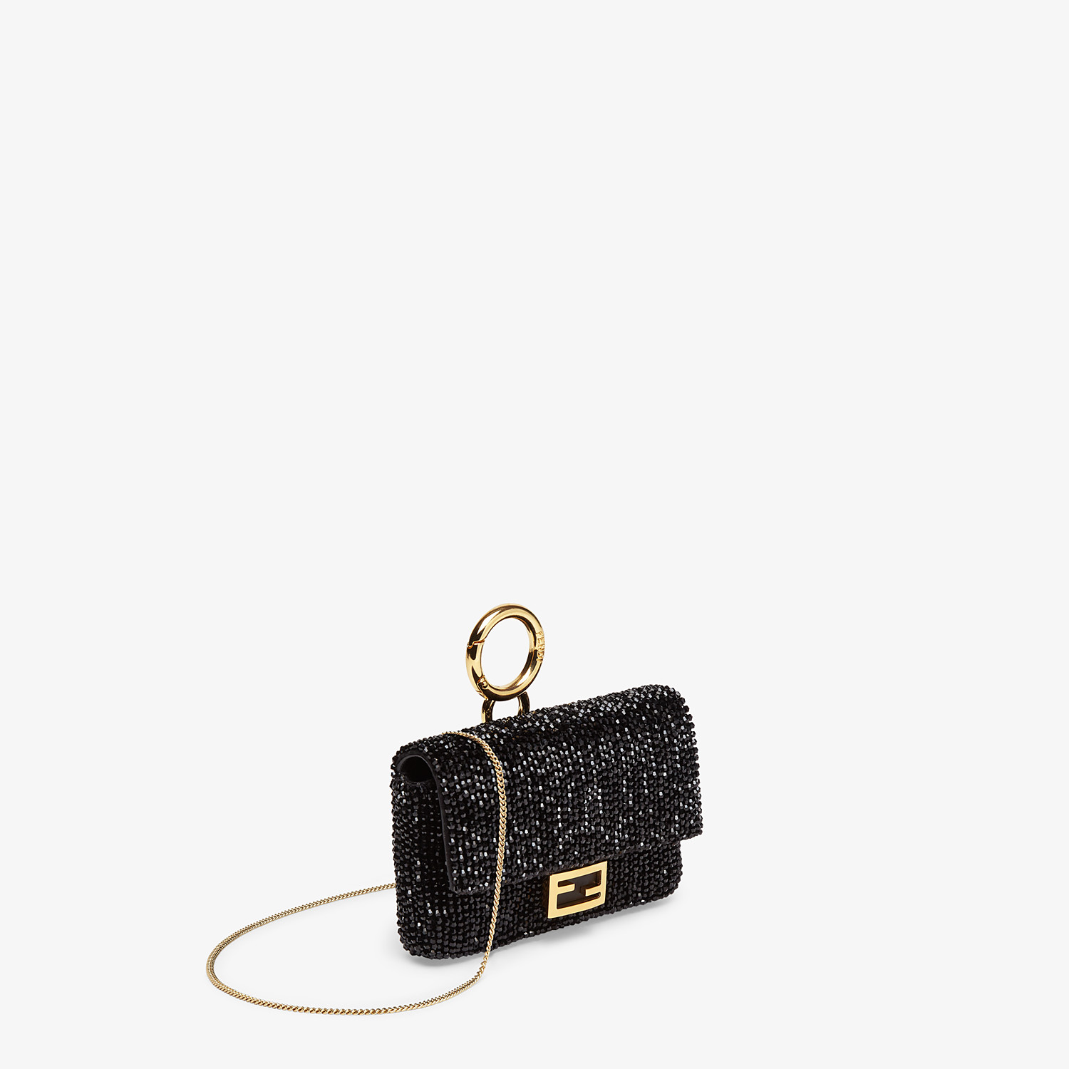 FENDI NANO BAGUETTE CHARM - Charm with black crystals - view 2 detail