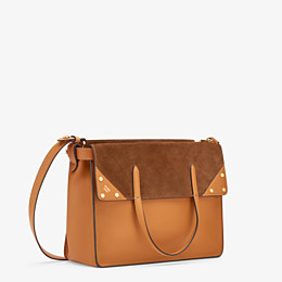 FENDI FENDI FLIP LARGE - Brown leather and suede bag - view 4 thumbnail
