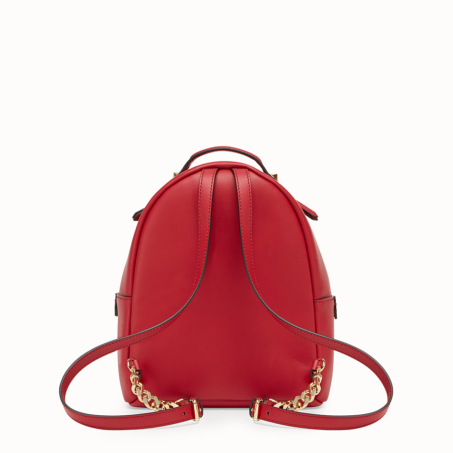 FENDI MINI BACKPACK - Small red leather backpack - view 3 detail