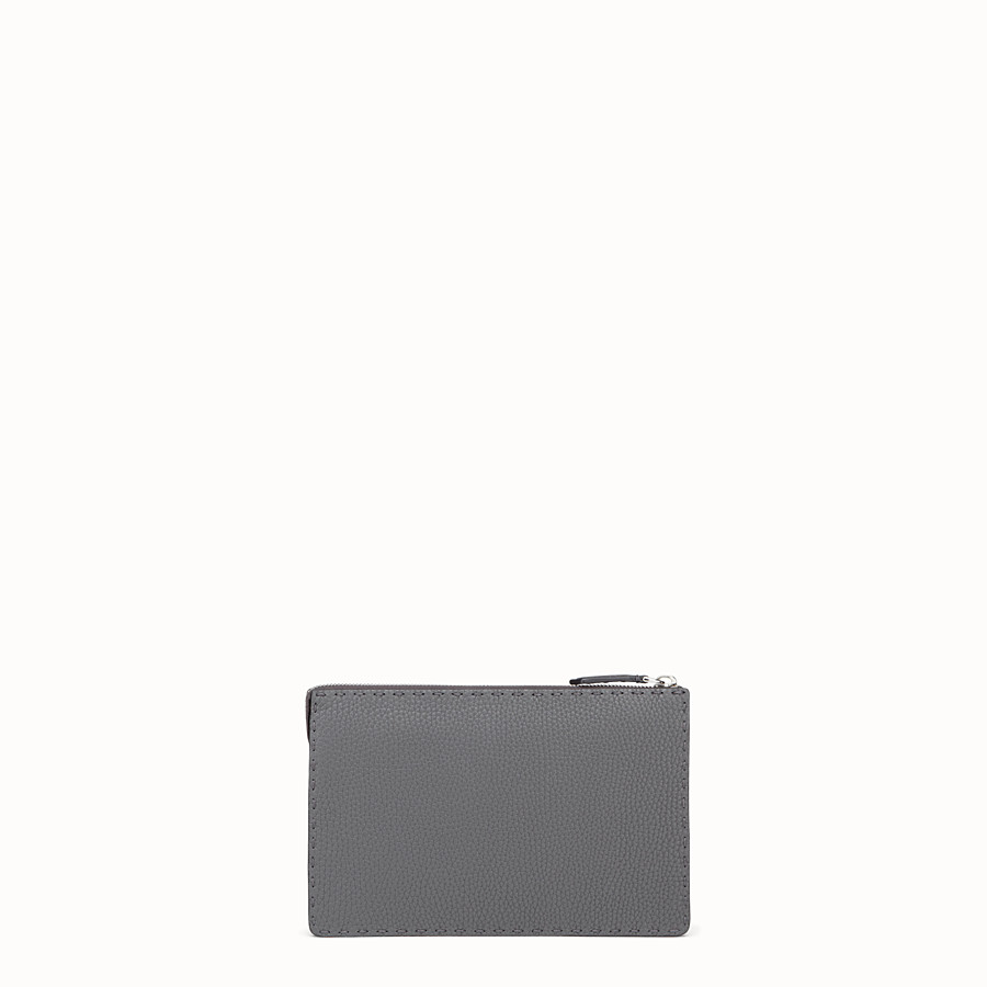 FENDI CLUTCH - in grey Roman leather - view 3 detail