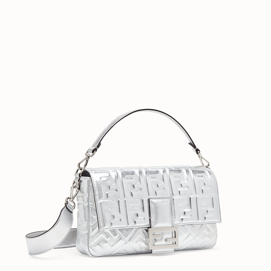 FENDI BAGUETTE LARGE - Silver leather bag - view 3 detail