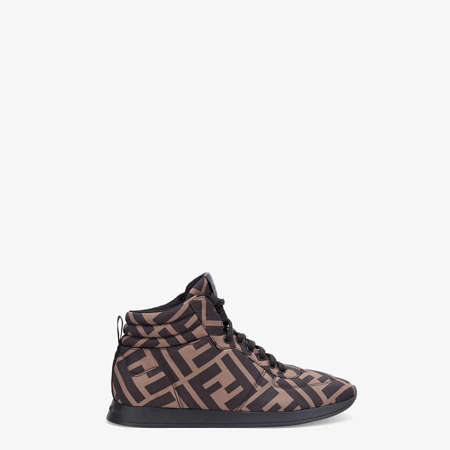 FENDI SNEAKERS - Brown nylon high-tops - view 1 detail