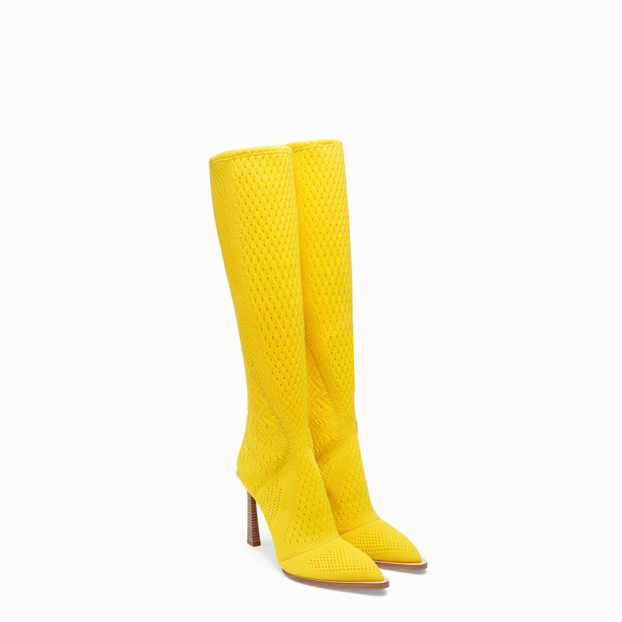 FENDI BOOTS - High-tech yellow jacquard boots - view 4 detail