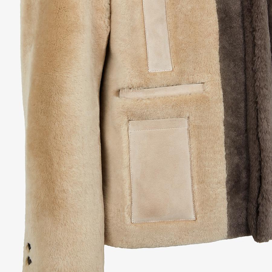 FENDI BLOUSON JACKET - Beige shearling jacket - view 3 detail