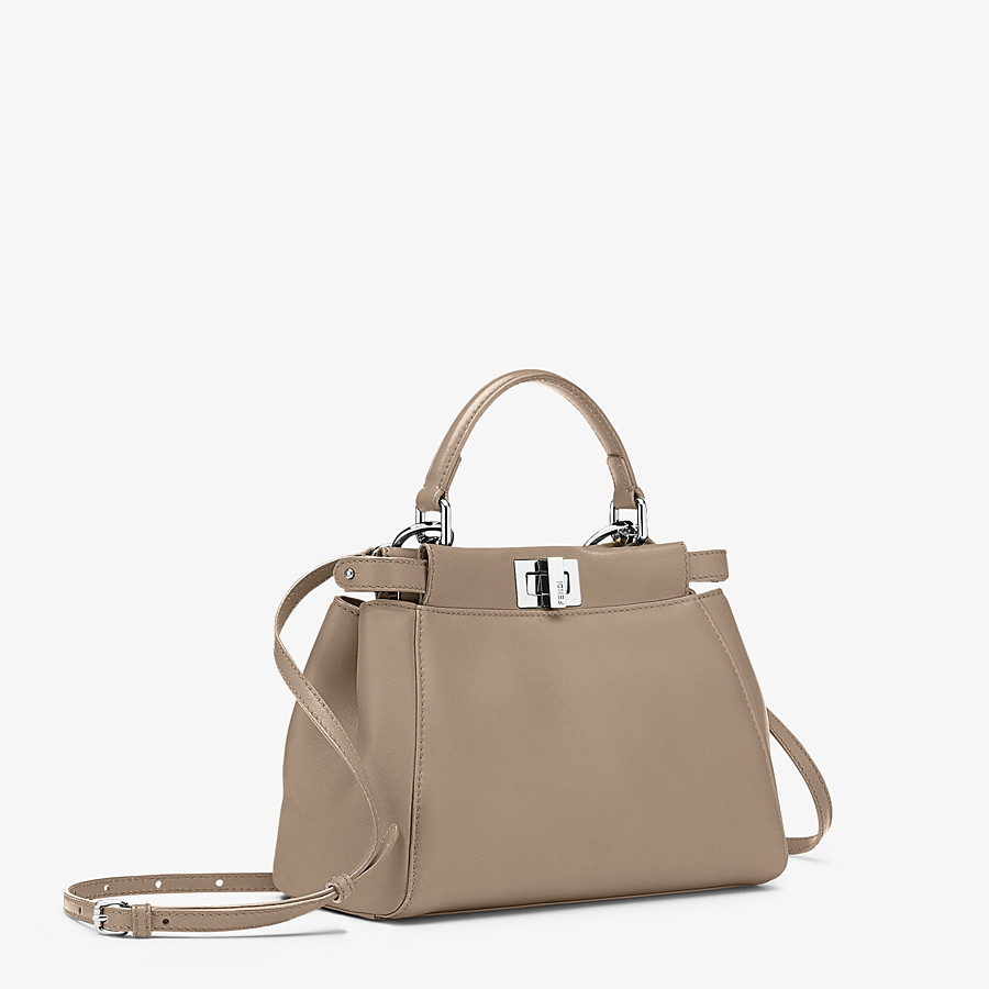 FENDI PEEKABOO ICONIC MINI - Dove grey leather hand bag - view 3 detail