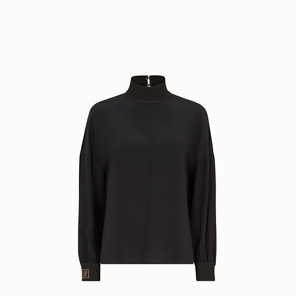 FENDI SHIRT - Black crêpe de chine blouse - view 1 small thumbnail