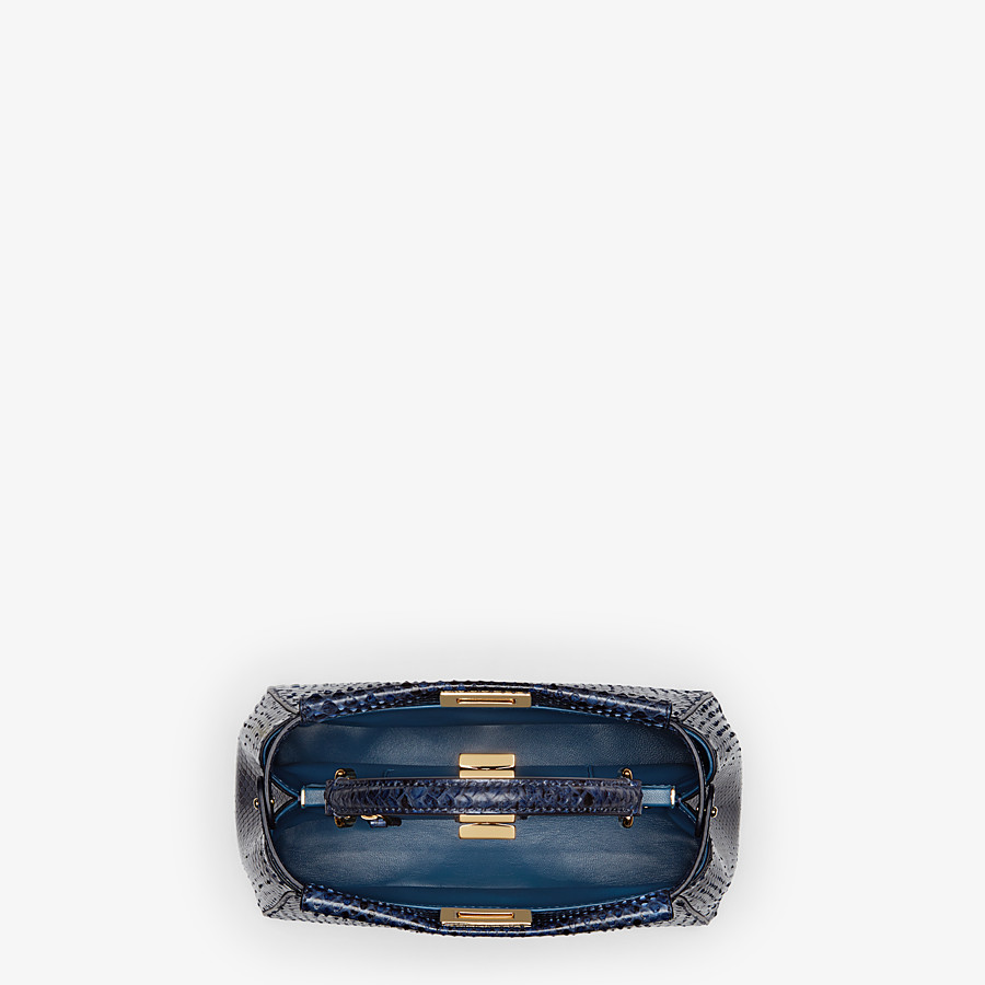 FENDI PEEKABOO ICONIC MINI - Blue python handbag. - view 4 detail