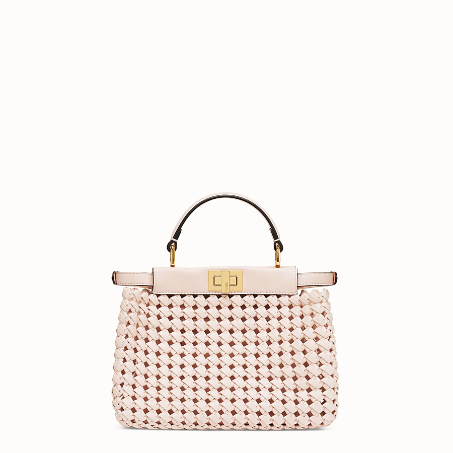 FENDI PEEKABOO ICONIC MINI - Sac en cuir rose tressé - view 4 detail