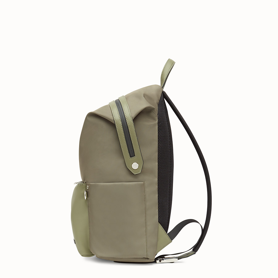 FENDI BACKPACK - Green nylon and leather backpack - view 2 detail