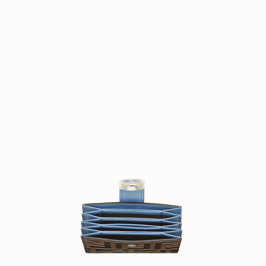 FENDI CARD HOLDER - Pale blue leather gusseted card holder - view 4 detail