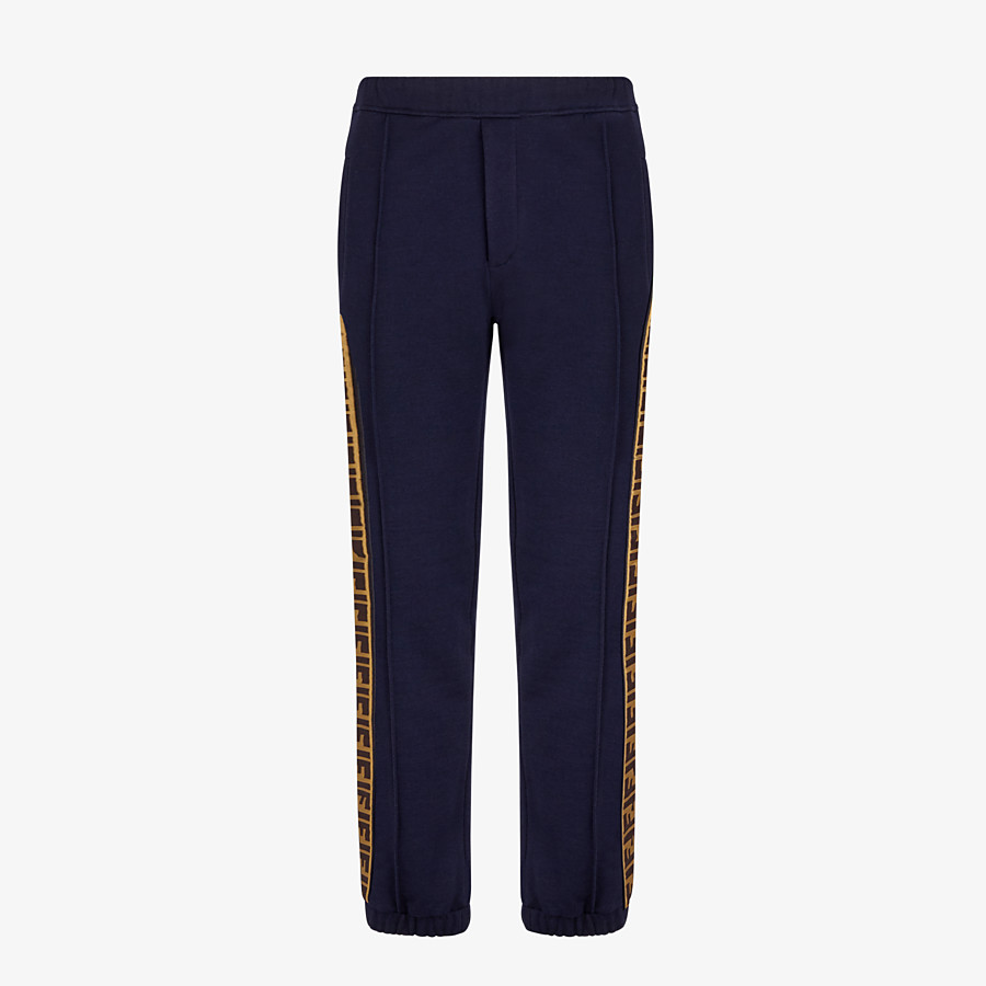 FENDI PANTS - Blue cotton pants - view 1 detail