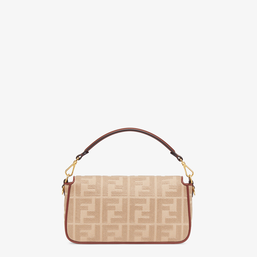 FENDI BAGUETTE - Beige FF canvas bag - view 3 detail