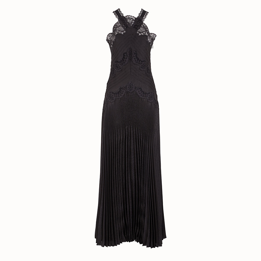 FENDI DRESS - Black jacquard satin dress - view 1 detail