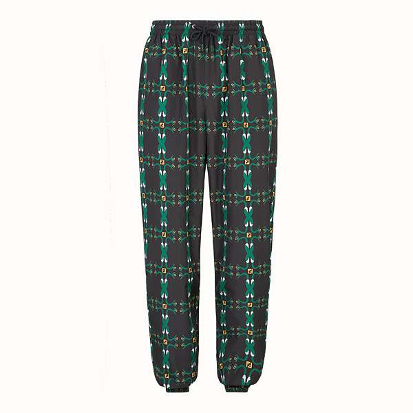 FENDI TROUSERS - Black nylon trousers - view 1 small thumbnail