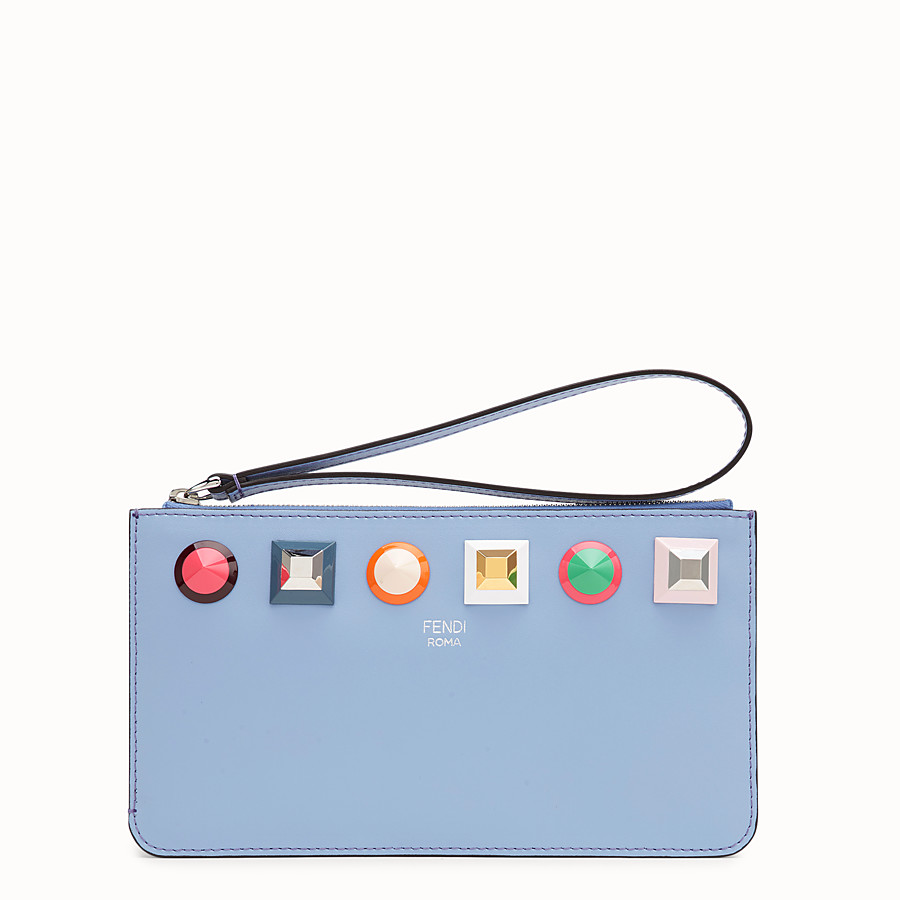 FENDI FLAT CLUTCH - Light blue leather pouch - view 1 detail
