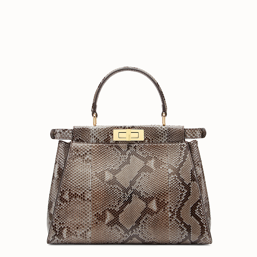 FENDI PEEKABOO REGULAR - Grey python handbag. - view 3 detail