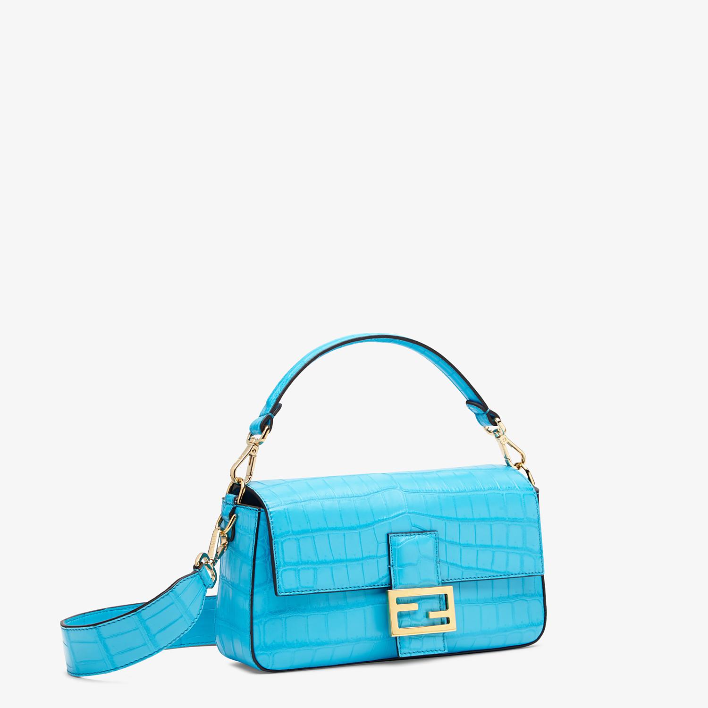 FENDI BAGUETTE - Light blue crocodile leather bag - view 2 detail