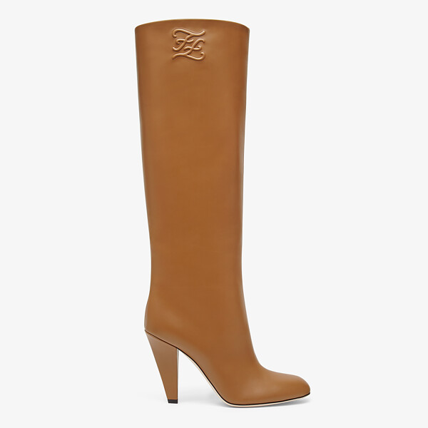 Beige leather high-heeled boots