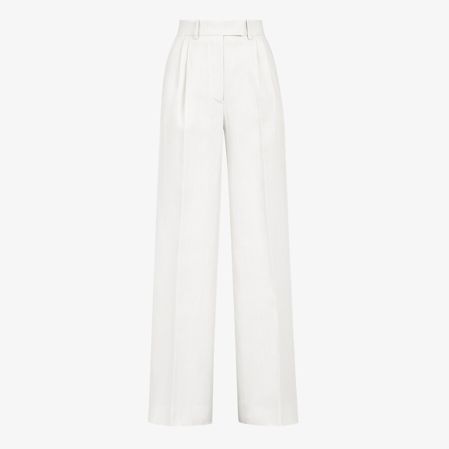 FENDI PANTS - White linen pants - view 1 detail