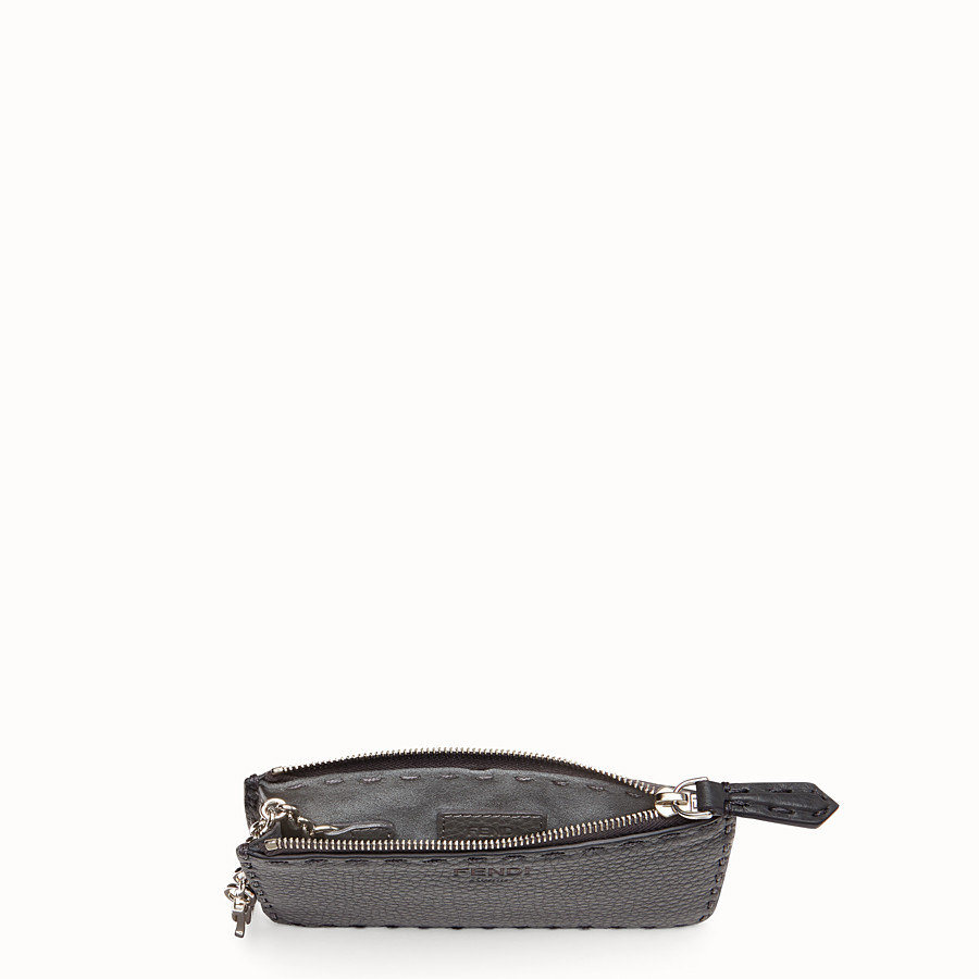 FENDI KEY RING - Grey leather pouch - view 4 detail