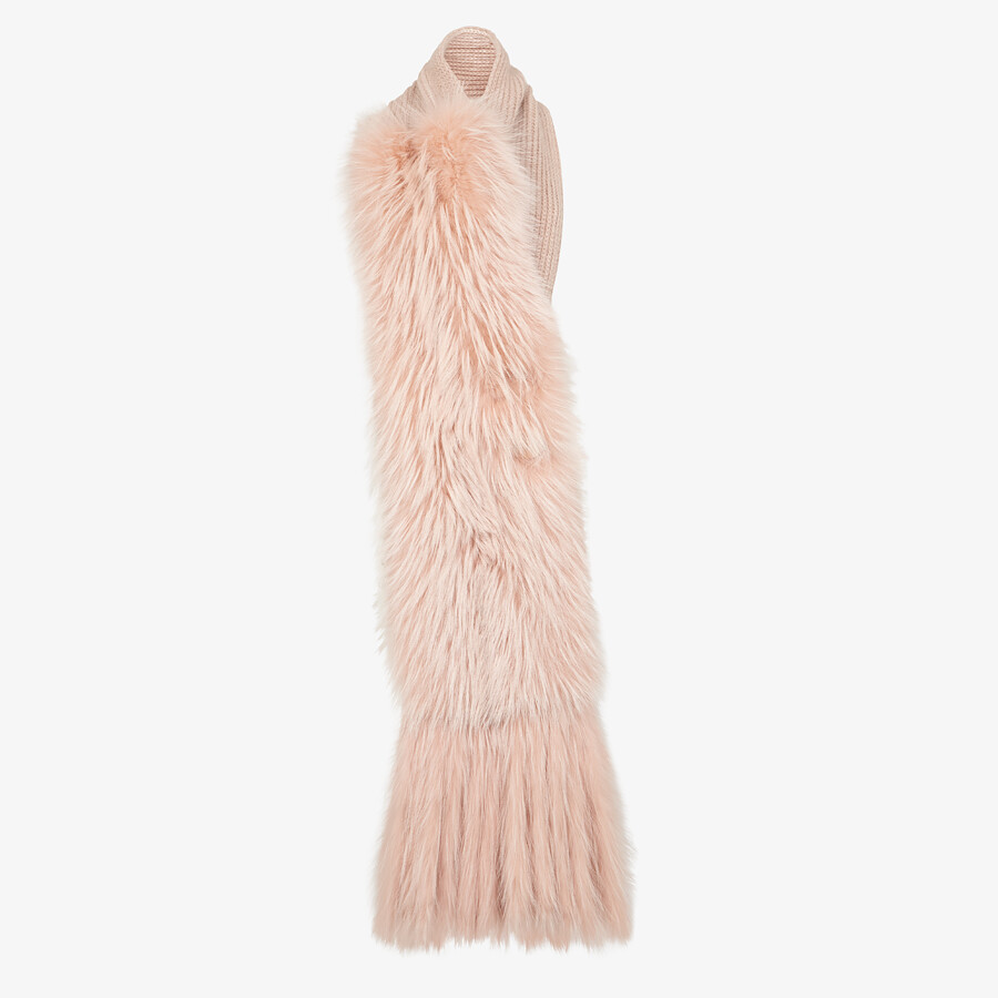FENDI MAXI STOLE - Pink fox fur oversized stole - view 1 detail
