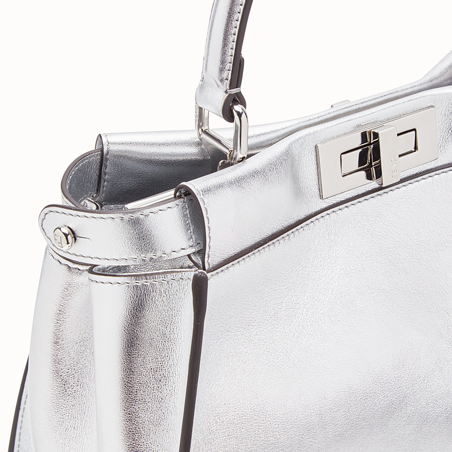 FENDI PEEKABOO ICONIC MEDIUM - Silver leather bag - view 5 detail