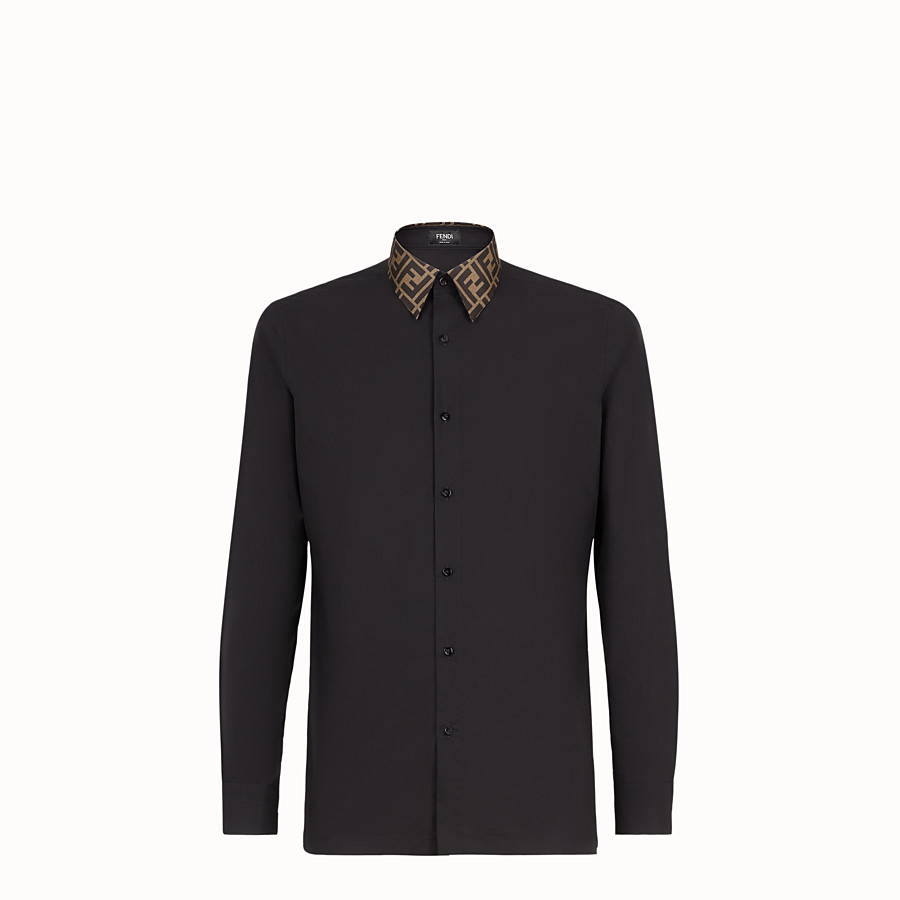 FENDI SHIRT - Black cotton shirt - view 1 detail