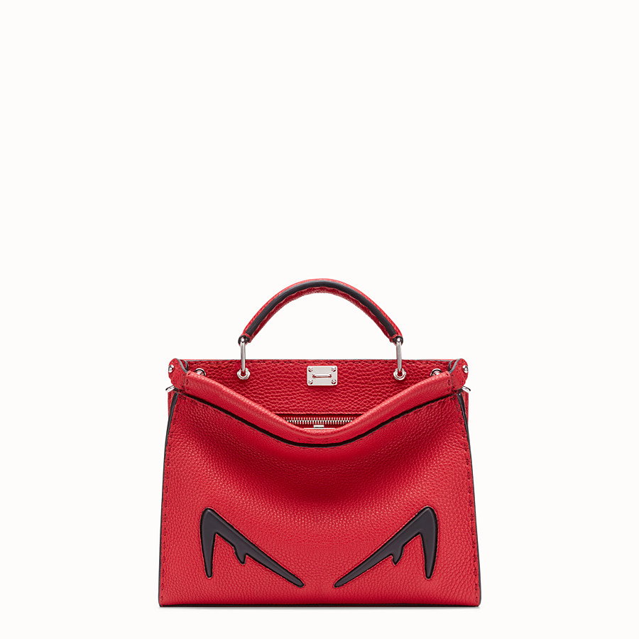 FENDI MINI PEEKABOO FIT - Red Romano leather bag - view 1 detail