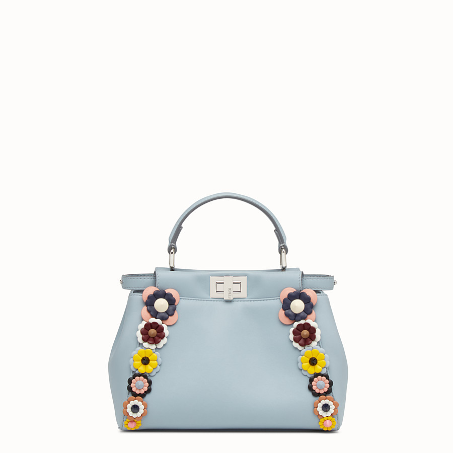 FENDI PEEKABOO MINI - Light blue nappa handbag with flowers - view 1 detail