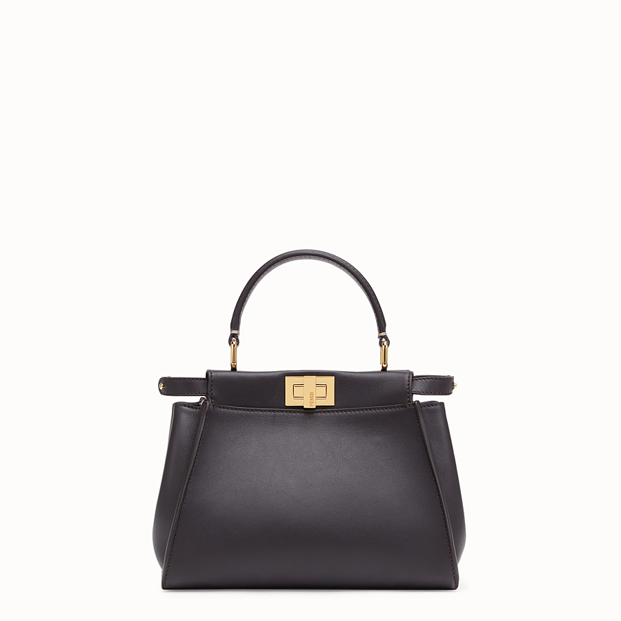 FENDI PEEKABOO ICONIC MINI - Borsa in pelle marrone - vista 1 dettaglio