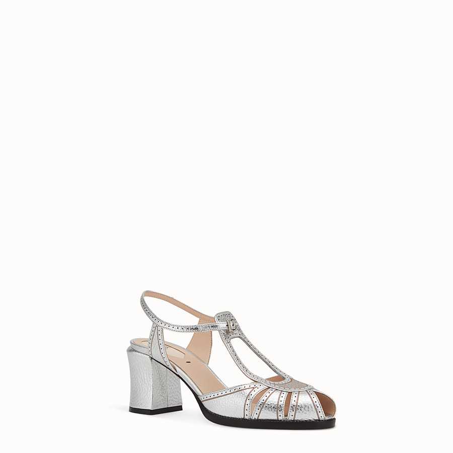 FENDI SANDALS - Sandals in metallised leather - view 2 detail