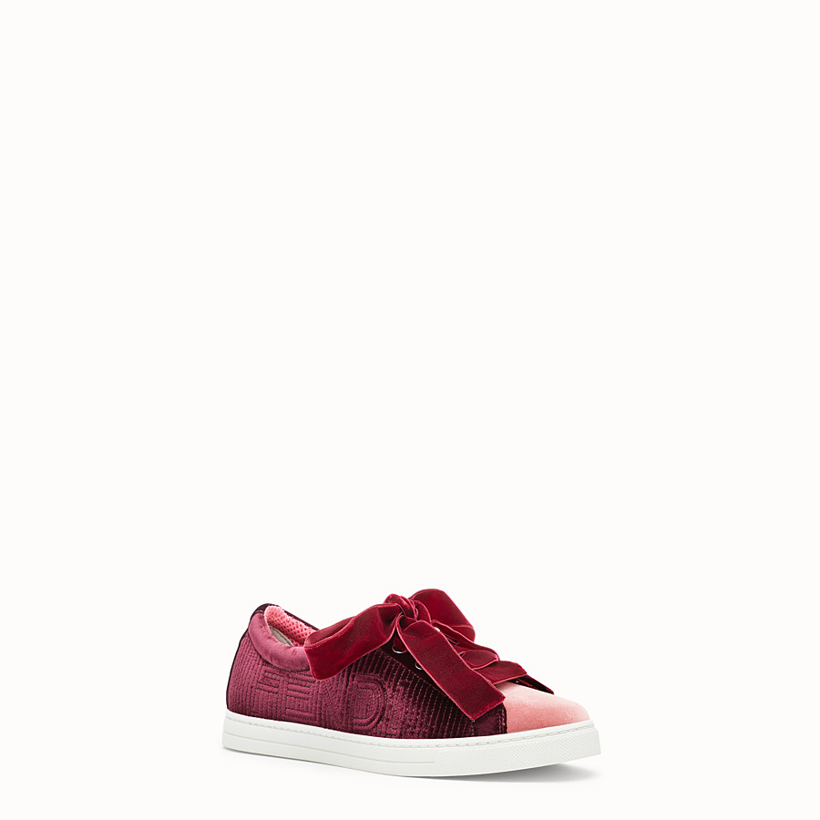 FENDI SNEAKERS - Red leather sneakers - view 2 detail