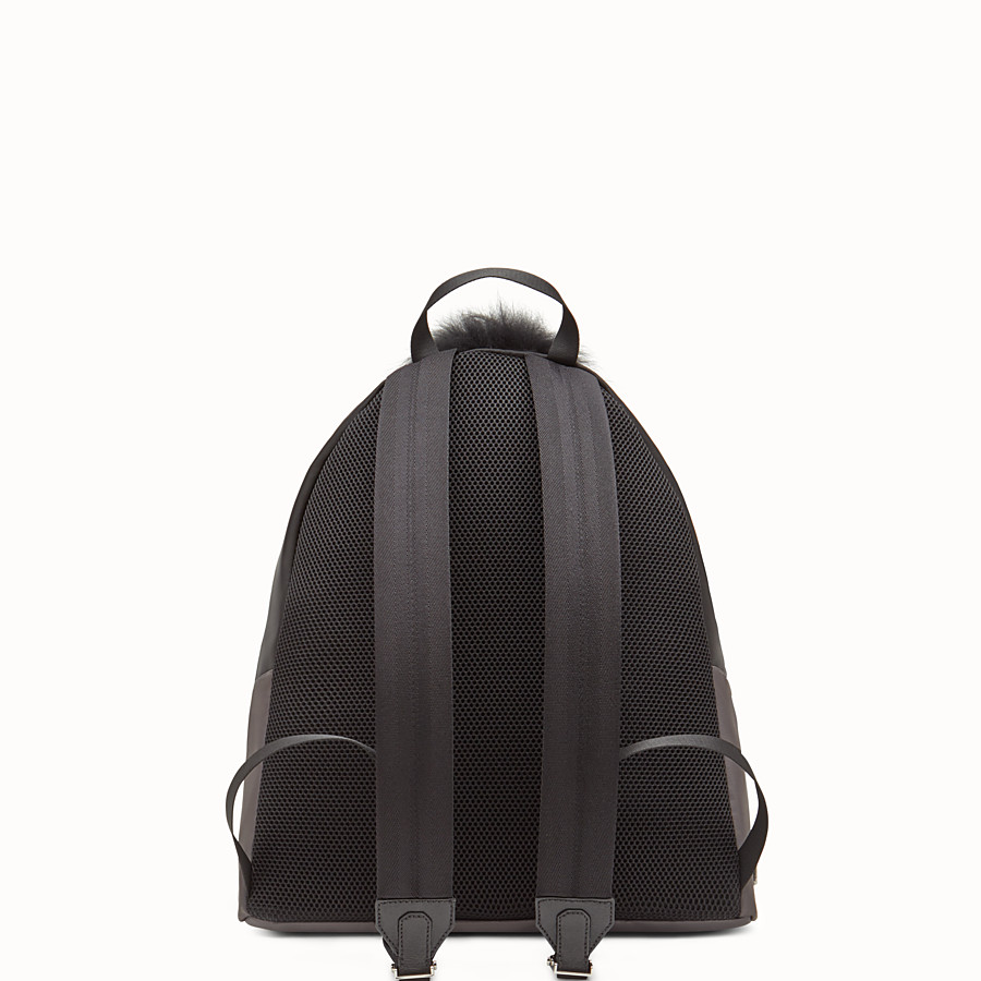 FENDI BACKPACK - in nylon and gray leather with inlays - view 3 detail
