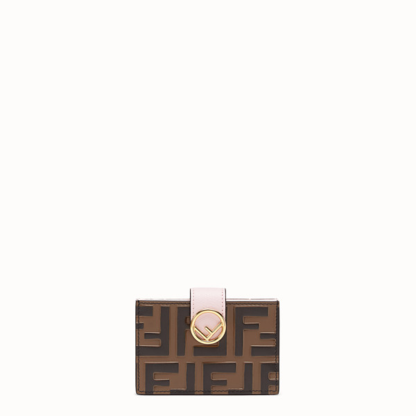 FENDI CARD HOLDER - Pink leather gusseted card holder - view 1 small thumbnail