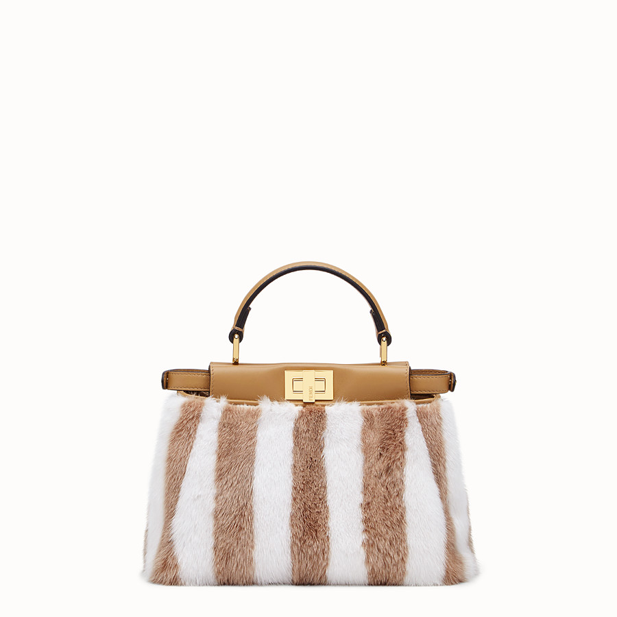 FENDI PEEKABOO ICONIC MINI - White mink bag - view 3 detail