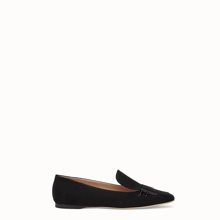 FENDI LOAFERS - Black nubuck flat loafers - view 1 detail