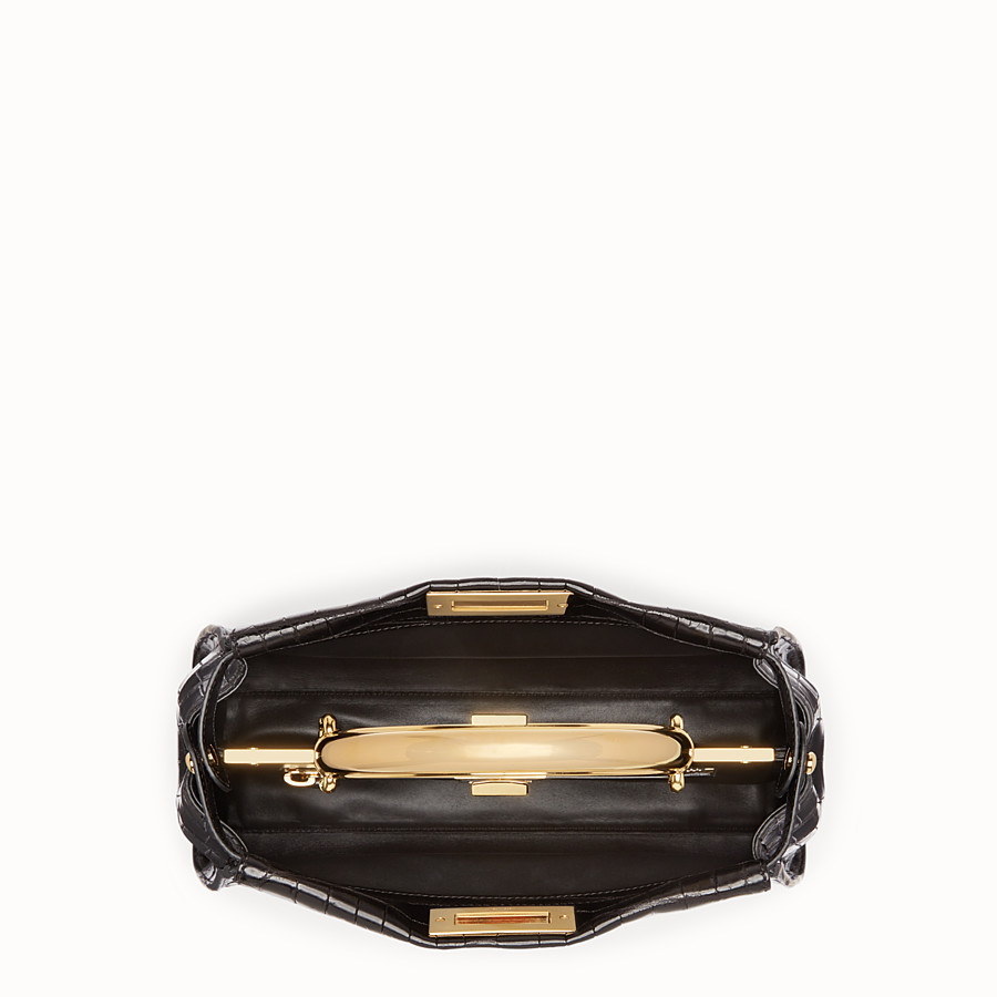 FENDI PEEKABOO REGULAR - Black crocodile leather handbag. - view 4 detail