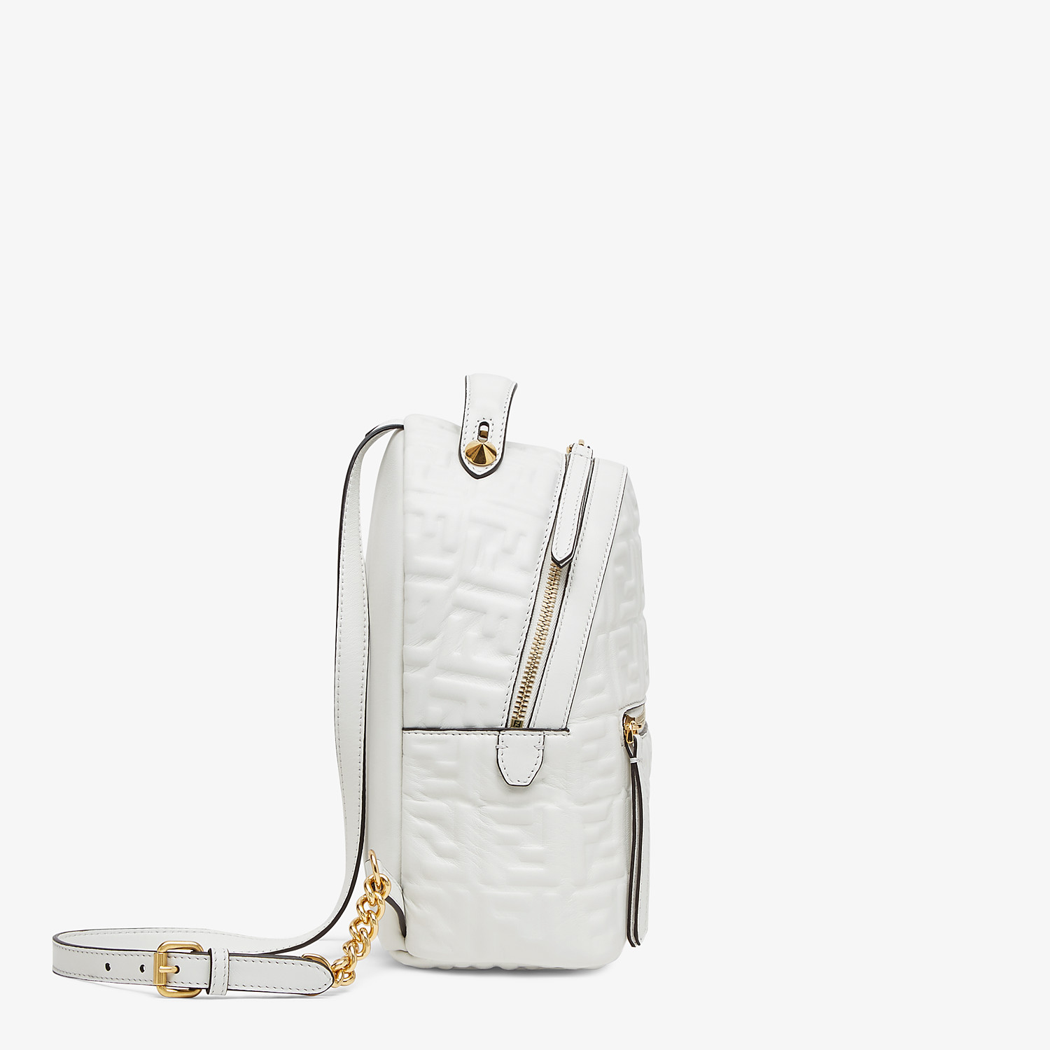 FENDI MINI BACKPACK - White FF leather backpack - view 2 detail