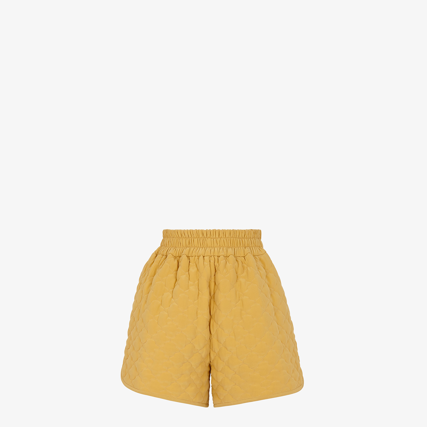 FENDI SHORTS - Yellow quilted crêpe de chine shorts - view 1 detail