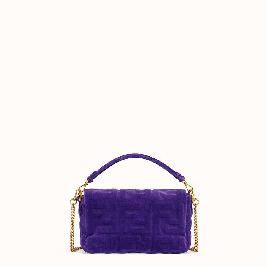 FENDI MINI BAGUETTE - Purple velvet bag - view 3 detail