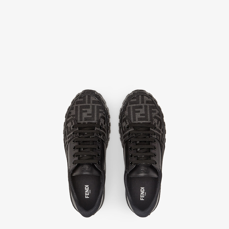 FENDI SNEAKERS - Black fabric low-tops - view 4 detail